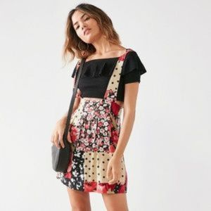 Rare UO Cooperative floral patchwork skirtall, M